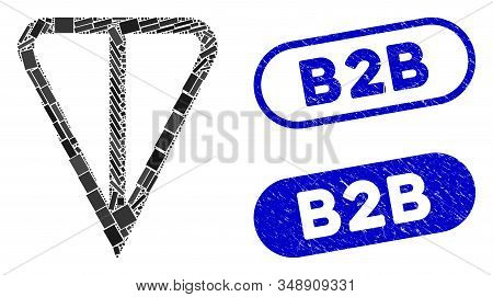 Mosaic Ton Currency And Corroded Stamp Watermarks With B2b Caption. Mosaic Vector Ton Currency Is Fo