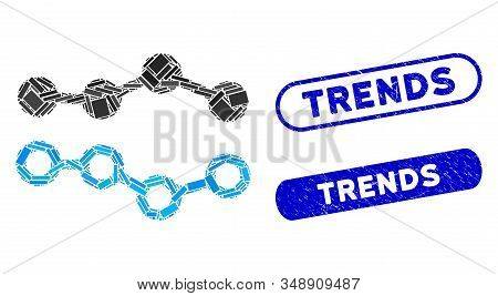 Mosaic Trends And Grunge Stamp Seals With Trends Text. Mosaic Vector Trends Is Composed With Randomi