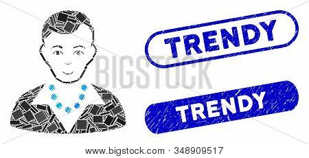Mosaic Trendy Guy And Distressed Stamp Seals With Trendy Phrase. Mosaic Vector Trendy Guy Is Compose