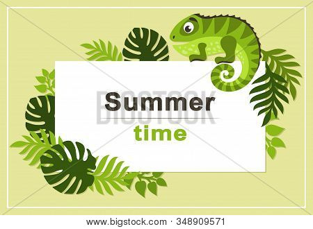 Summer Tropical Background With Palm Leaves And Cartoon Cute Iguana. Rectangular Frame. Place For Te