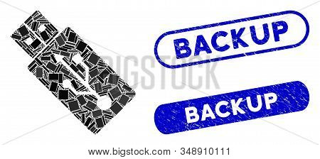 Collage Usb Drive And Distressed Stamp Watermarks With Backup Caption. Mosaic Vector Usb Drive Is De