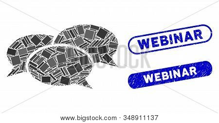 Mosaic Webinar And Grunge Stamp Seals With Webinar Text. Mosaic Vector Webinar Is Created With Scatt