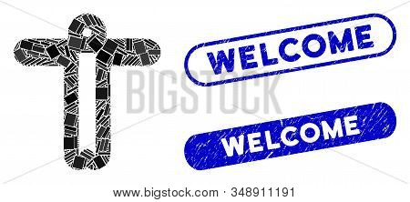 Collage Welcome Person And Distressed Stamp Seals With Welcome Phrase. Mosaic Vector Welcome Person