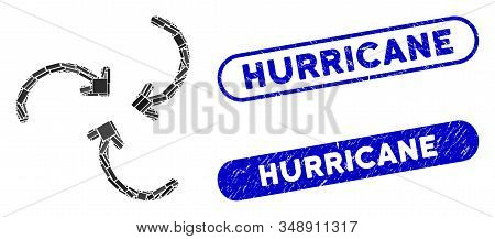 Mosaic Whirlpool Rotation Arrows And Grunge Stamp Seals With Hurricane Caption. Mosaic Vector Whirlp