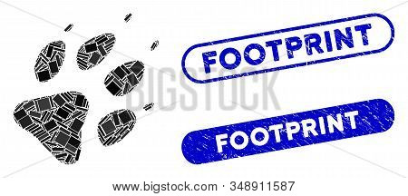 Mosaic Wolf Footprint And Distressed Stamp Watermarks With Footprint Caption. Mosaic Vector Wolf Foo
