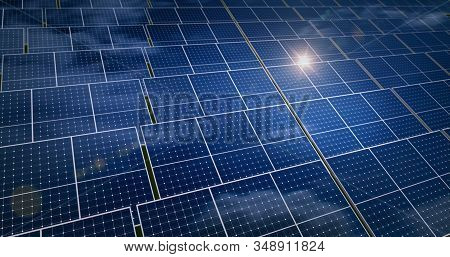 Solar Energy Panels With Sun Reflection And Blue Sky In Background. Green Power, Ecology, Clean And