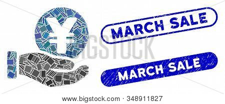 Collage Yen Coin Payment Hand And Distressed Stamp Watermarks With March Sale Text. Mosaic Vector Ye