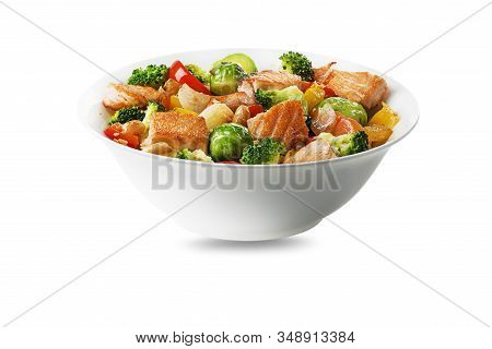 Healthy Seafood Meal With Grilled Salmon Fish And Vegetables Isolated On White Background. Healthy F