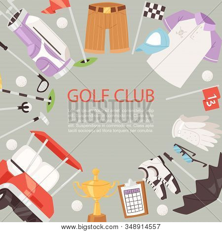 Golf Club Cartoon Poster Background Vector Illustration. Summer Sports Competition And Outdoor Leisu