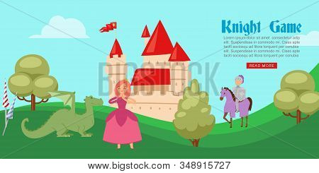 Medieval Or Fairy Tale Cartoon Knight Game Banner With Castle And Knight In Full Body Armor Suits On
