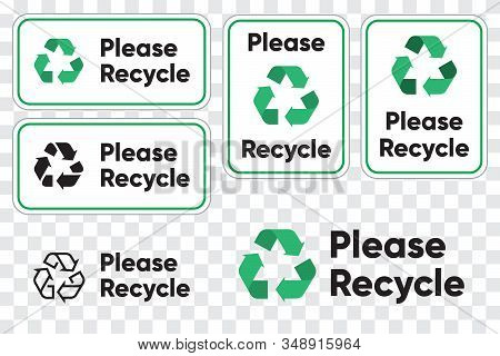 Please Recycling Sign For Public Places. Recycle Green Arrows Pictogram. Isolated Vector Illustratio