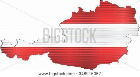Shiny Grunge Map Of The Austria - Illustration,  Three Dimensional Map Of Austria