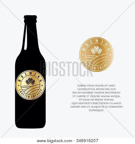 Brewery Beer House Label With Logos Of Craft Beer, Emblems For Beer House, Bar, Pub, Brewing Company