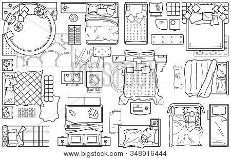 Set Of Furniture Icons For The Bedroom, Top View. The Layout Plan Of The Apartment. Interior Icon Fo