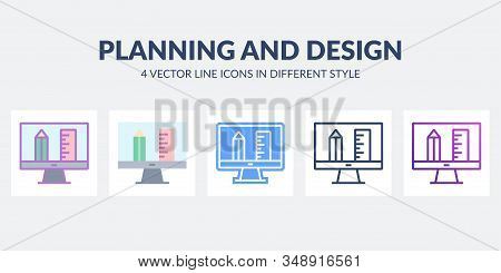 Planning And Design Vector Icon In Different Styles. Desctop Design Tools. Architecture Drawing Proj