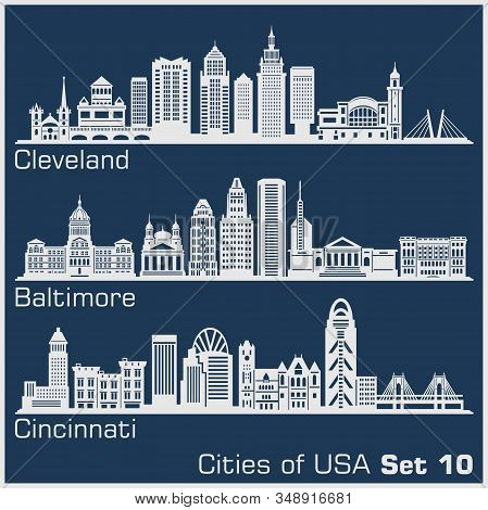 Cities Of Usa - Cleveland, Baltimore, Cincinnati. Detailed Architecture. Trendy Vector Illustration.
