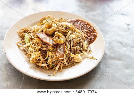 Popular Penang Char Mee Sua Or Stir Fried Mee Sua Served On Plate