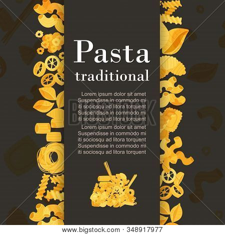 Traditional Italian Pasta And Macaroni Flyer Cover On Black Ackground With Text And Frame Of Noodles