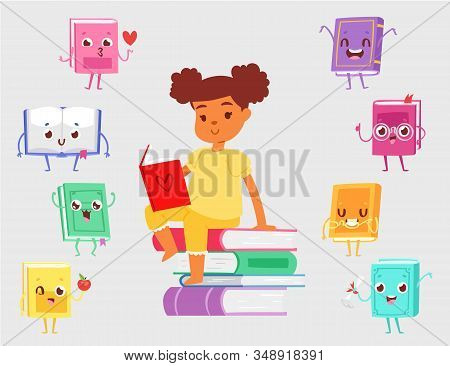 Dark Skinned Girl Sitting On Pile Of Books And Reading Vector Illustration. Cute Kawaii Books With F