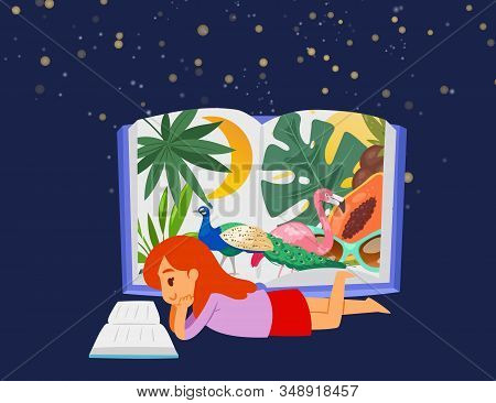 Sweet Little Girl Lying At Stary Night And Reading Book About Exotic Jungles Flora And Fauna Vector