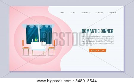 Romantic Dinner Vector Website Template. Dining Table For Date, Glasses Of Wine, Food, Window With N
