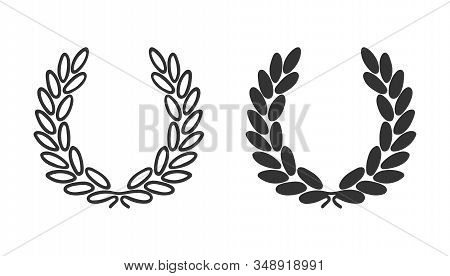 Laurel Wreath Icon. Symbol Of Victory, Triumph And Success. Black Award Laurel Logo On White Backgro