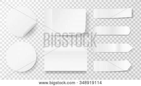 White Sticker Set On Transparent Background. Paper Labels And Tags. Realistic Stickers With Folded E