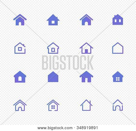 Set Of Home Icons. Thin Line Collection Of Home Icons. Vector Set Of Signs. House And Home Simple Sy