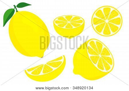 Vector Lemons. Fresh Lemon Fruits. Half And Slice Lemon With Green Leaf. Sliced Lemon. Vitamin C. Sl