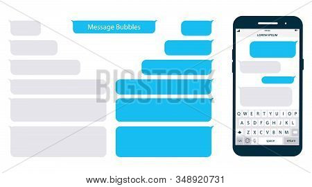 Smartphone, Chatting Sms App Template Bubbles. Place Your Own Text To The Message Clouds. Social Net