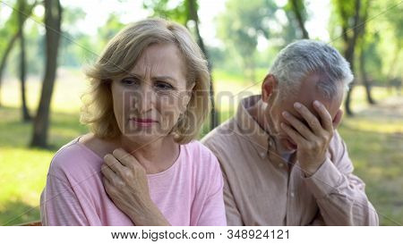 Old Couple Crying, Frustrated With Illness Of Close Relative, Problems Despair
