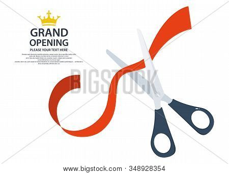 Scissors Cut The Red Ribbon. Grant Opening Icon. Ribbon Cut Business Start-up Banner Concept. Vector