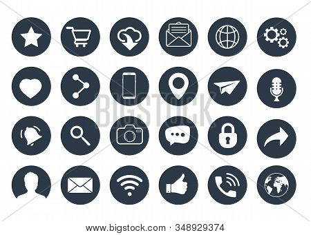 Set Of Web Icons. Social Media Icons. Contact Us Icons Vector Illustration