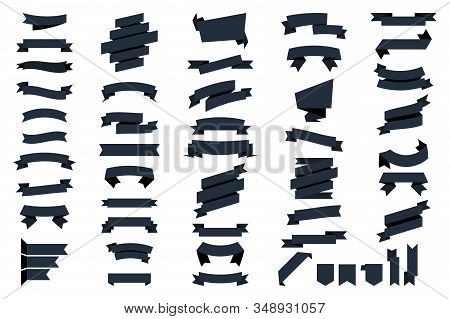 Black Web Ribbons Banners Isolated On White Background. Vector Collection Isolated Ribbons Banners.