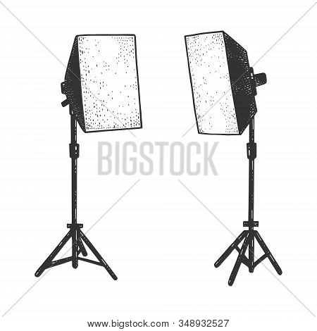 Softbox Photographic Lighting Device Sketch Engraving Vector Illustration. T-shirt Apparel Print Des