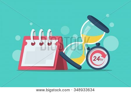 Duration Concept. Vector Illustration Cartoon Design. Calendar Stopwatch And Hourglass Isolated On B