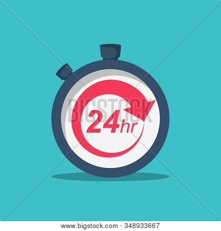 24 Hours. 24 7 Service Icon. The Circular Arrow In The Stopwatch. Vector Illustration Flat Design. I
