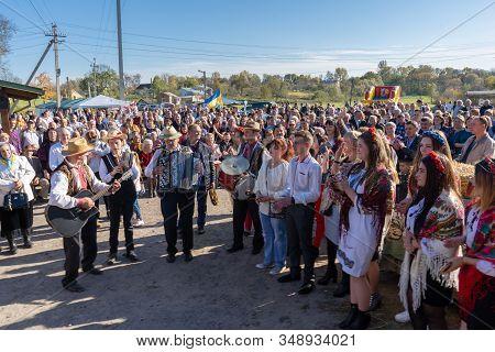 Crowd Of Happy People Celebrating The Village, 13.10.2019.ukraine Mervichi, Ukrainian Village Celebr