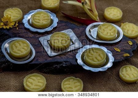 A Dish Of Delicious Thai Traditional Dessert Called Thua Kwan (mung Bean Cookies), Oblique View From
