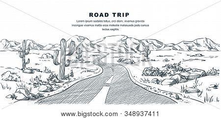 Desert And Mountains Road Landscape. Vector Vintage Sketch Illustration. Nature Environment Calm Sce