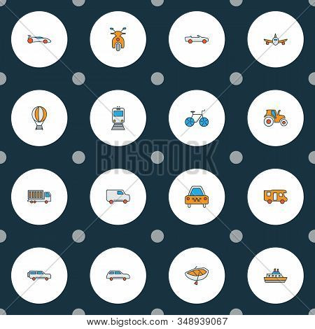 Transportation Icons Colored Line Set With Campervan, Suv, Cabriolet And Other Car Elements. Isolate