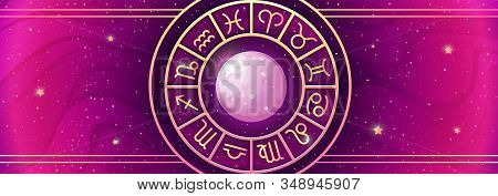 Zodiac Symbols Wheel Banner. Astrological Vector Background