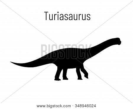 Turiasaurus. Sauropodomorpha Dinosaur. Monochrome Vector Illustration Of Silhouette Of Prehistoric C