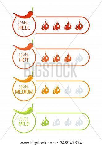 Hot Red Pepper . Indicator Pepper Strength Mild, Medium, Hot And Hell.