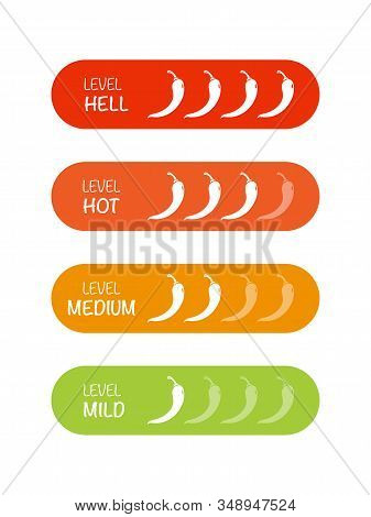 Hot Red Pepper Strength Scale. Set Of Indicator With Pepper Strength Mild, Medium, Hot And Hell. Vec