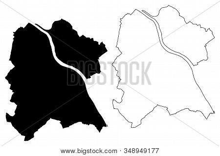 Bonn City (federal Republic Of Germany, North Rhine-westphalia) Map Vector Illustration, Scribble Sk