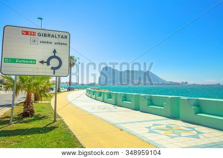 The Rock Of Gibraltar, British Territory, And Its Bay View From Spanish Territory Of La Linea Town.