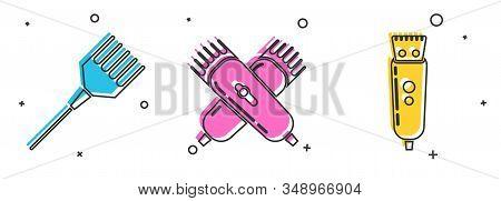 Set Hairbrush, Crossed Electrical Hair Clipper Or Shaver And Electrical Hair Clipper Or Shaver Icon.