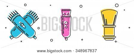 Set Crossed Electrical Hair Clipper Or Shaver, Electrical Hair Clipper Or Shaver And Shaving Brush I