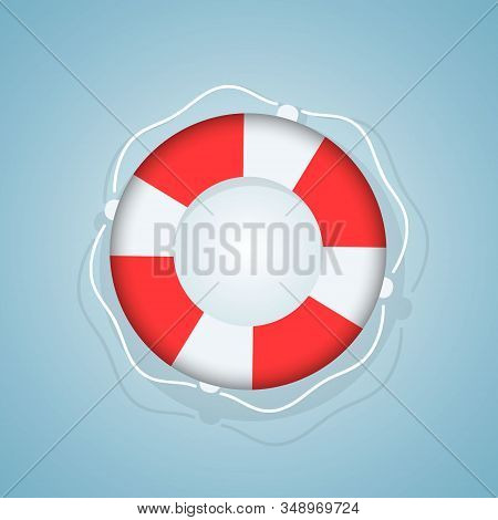 Lifebuoy With Rope Around Help Sea Icon. Equipment For Safety In Water. Sos Emergency